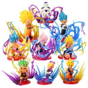 Image 1 - 9pcs/lot Dragon Ball Z Action Figures Son Goku Gohan Vegeta Zamasu Broly Super Saiyan Frieza Energy Effect Anime DBZ Model Toys