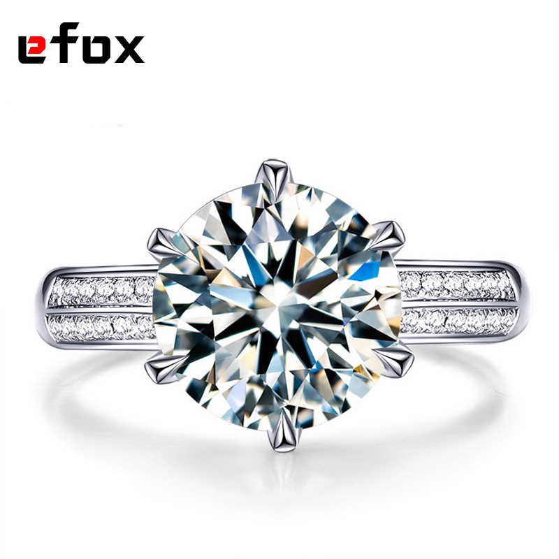 8 Carat Crown Dazzling AAA Cubic Zirconia 925 Sterling Silver Wedding Rings For Women Luxury Engagement fashion jewelry