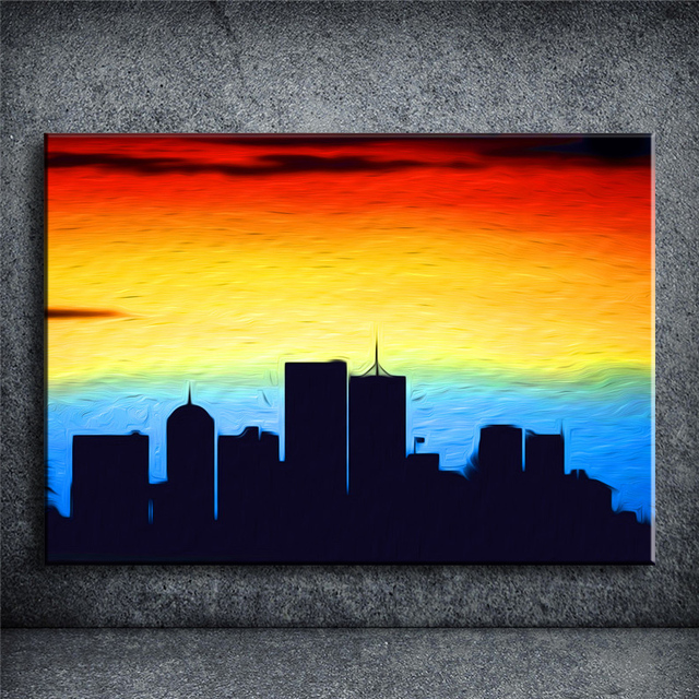 CITY SUNRISE Landscape Print on Canvas painting bar pub cafe wall ...
