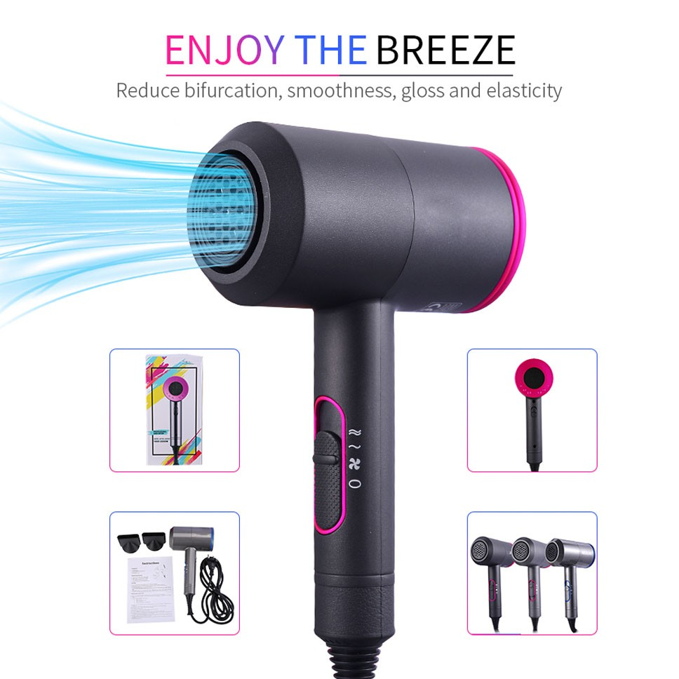 Household 2000W Professional Ion Hair Dryer Thermostatic Hair Dryer Hair Dryer Comb Rechargeable Hair Dryer