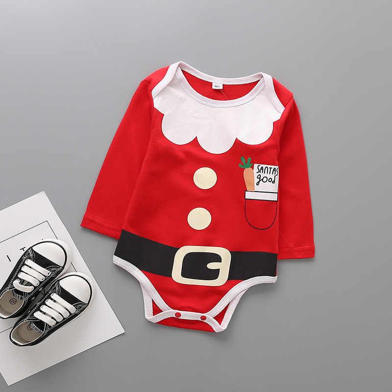 De Manga Comprida Bebê Recém-nascido de Natal Bodysuit de Algodão Infantil Criança Bebê Meninos Meninas Natal Jumpsuit One Piece Clothes DS19