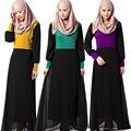 Tradição Abaya Muçulmano do Oriente médio Vestido mulheres vestuário Islâmico Turco Peru roupas Splice Malha Pulôver De Algodão Vestidos