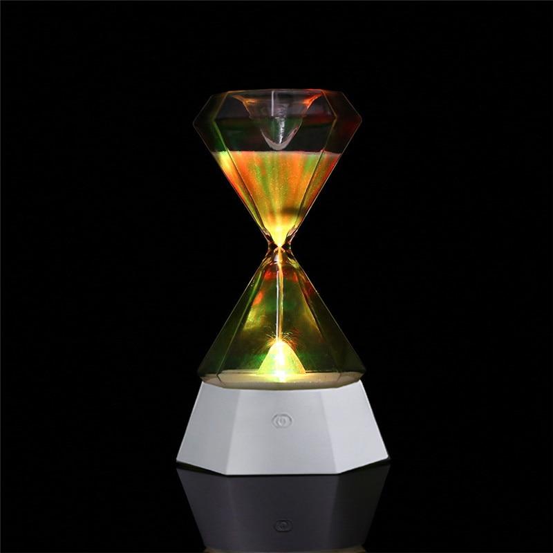 RGB accueil sablier veilleuse cristal diamant horloge lampe romantique humeur lumière lampe de Table pour chevet enfants chambre décoration