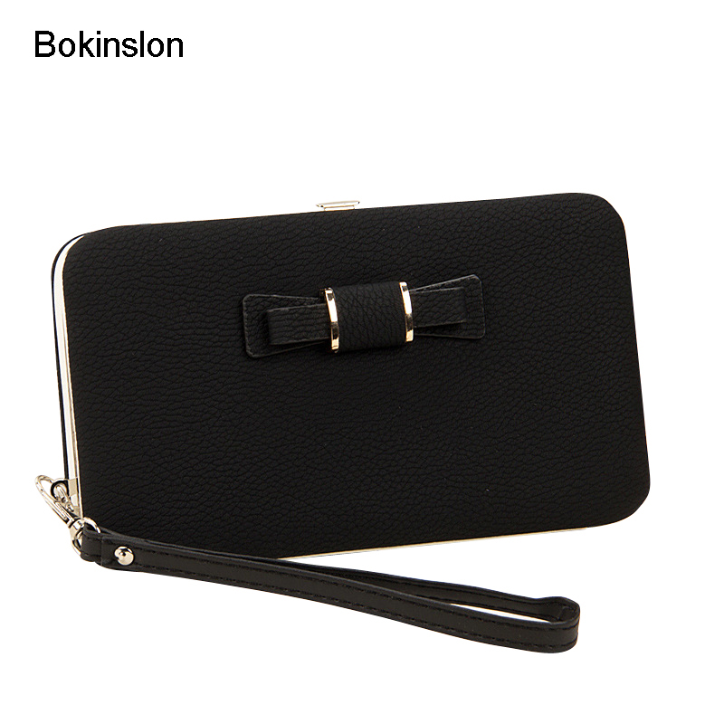 Bokinslon Girls Brand Purse Popular Practical Ladies Hand Wallet PU Leather Bowknot Woman Long Section Wallet
