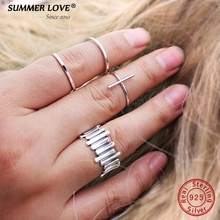 Authentic 925 Sterling Silver Jewelry Rings For Women Faith Cross Shape Finger Rings Simple bijoux femme Adjustable Size