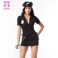 Leder Kragen Tief V Reißverschluss Vorne Sexy Cop Kleid Cosplay Polizei Kostüm Halloween Kostüme (hut + Kleid + Handschellen + Gürtel)