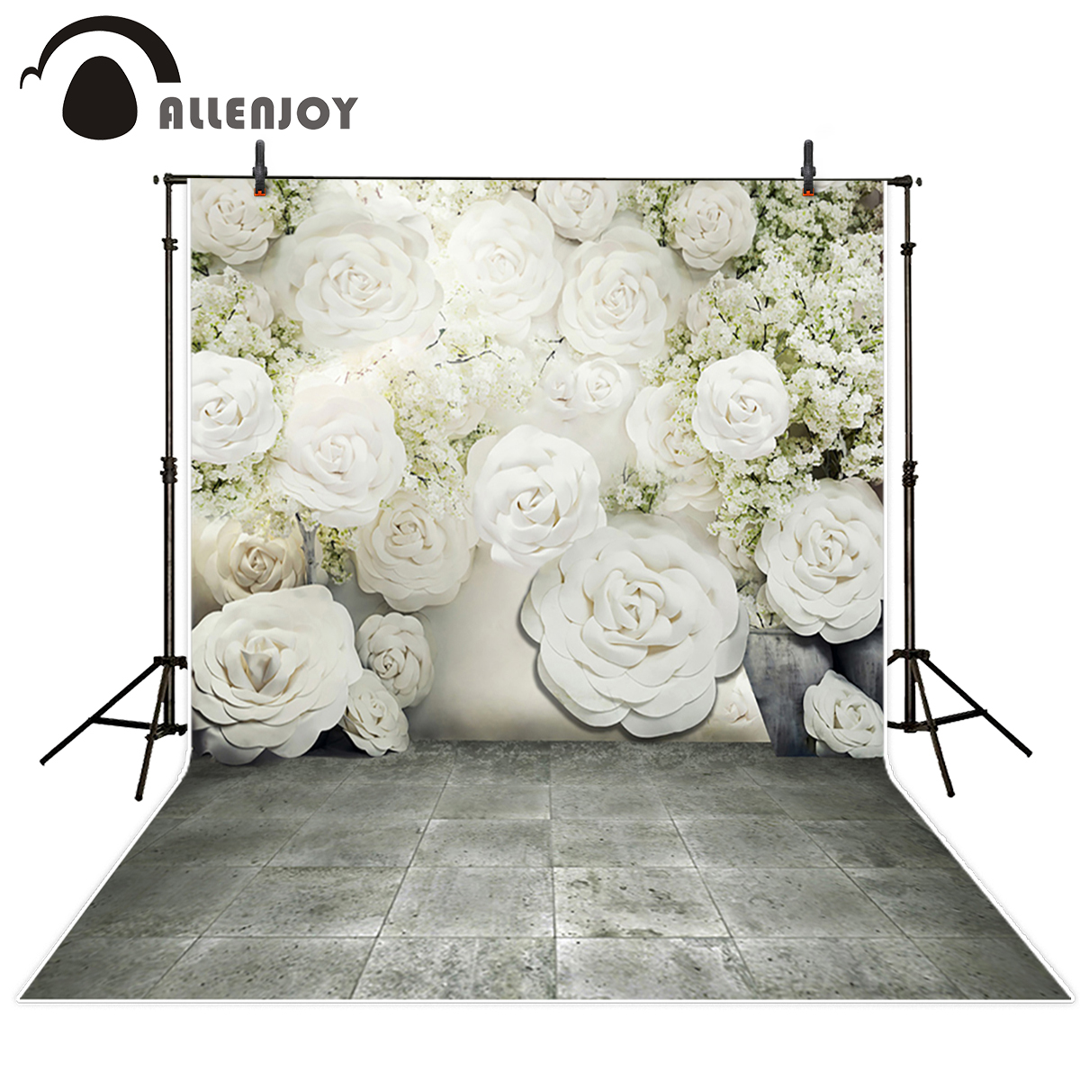 Allenjoy photography backdrops White Flowers Wedding backdrop Love Brick floor Background vinyl backdrops for photo studio huayi 4pc 2x2ft wood floor brick wall backdrop vinyl photography backdrops photo props background small object shooting gy 019