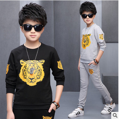 Retail children's sports suit boys and girls 2-16 years old children big virgin suit uniforms Spring clothes Jacket + Trousers