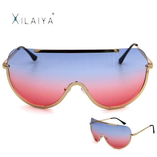 46a32b9c81 Women Brand Designer Sun Glasses Metal Frame Retro Big Gradient Fashion  Vintage Round Rimless Clear Oversized Sunglasses 0815