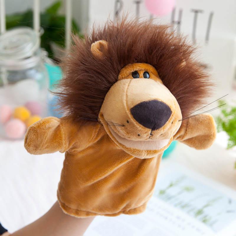 Animales de peluche marionetas de mano niños de la infancia lindo juguete suave elefante Lione Monkey forma historia simulando jugar muñecas regalo para niños