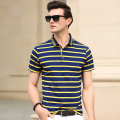 2016 New summer fashion contrast colors striped men's casual business polos shirt