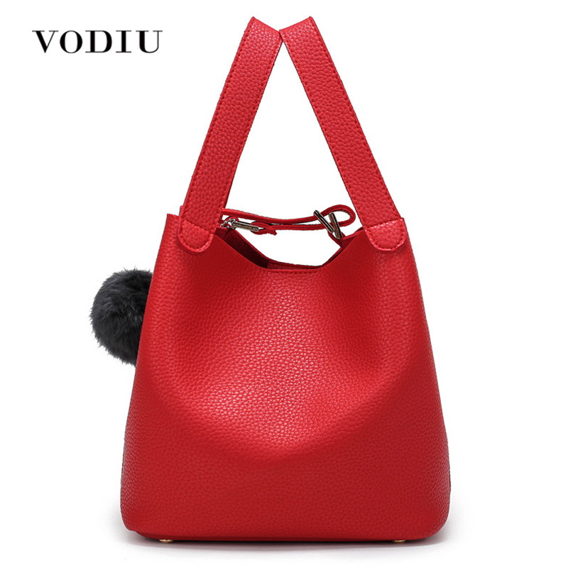 Women Bag Handbag Tote Over Shoulder Crossbody Messenger Leather Female Red High Quality Fringe Fur Bucket Small Girl Cute Bags genuine leather studded satchel bag women s 2016 saffiano cute small metal rivet trapeze shoulder crossbody bag handbag