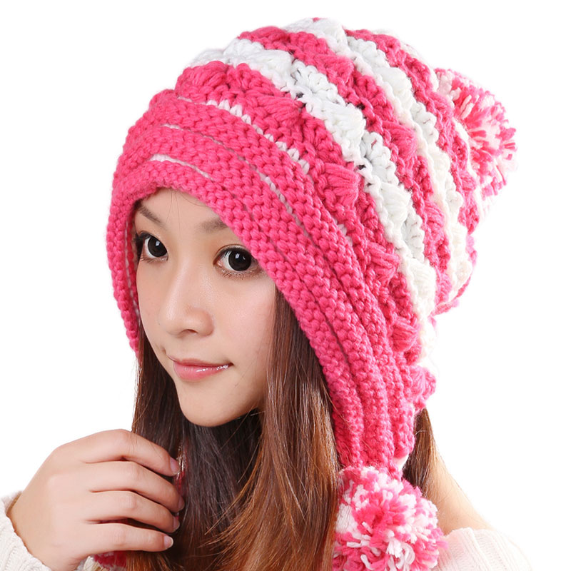 BomHCS Mosaic Double Colors Knitting Hat Winter Warm Ear Muff Women Lovely Beanie With Pom 2017 of the latest fashion have a lovely the hat of the ear lovely naughty lady s hat women s warm and beautiful style