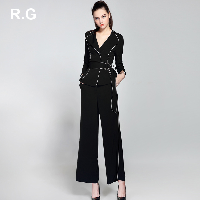 RG Formal OL Business Women's Suit Work Wear Black White Color Block Blazer Wide Leg Pants 2 Piece Set Suit Women Spring Autumn
