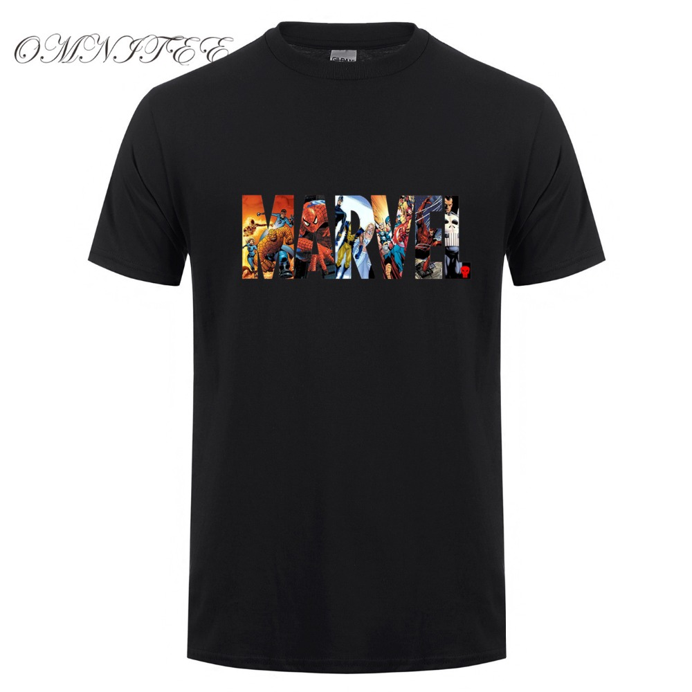 New fashion marvel short sleeve t shirt men superhero for Comic t shirts online
