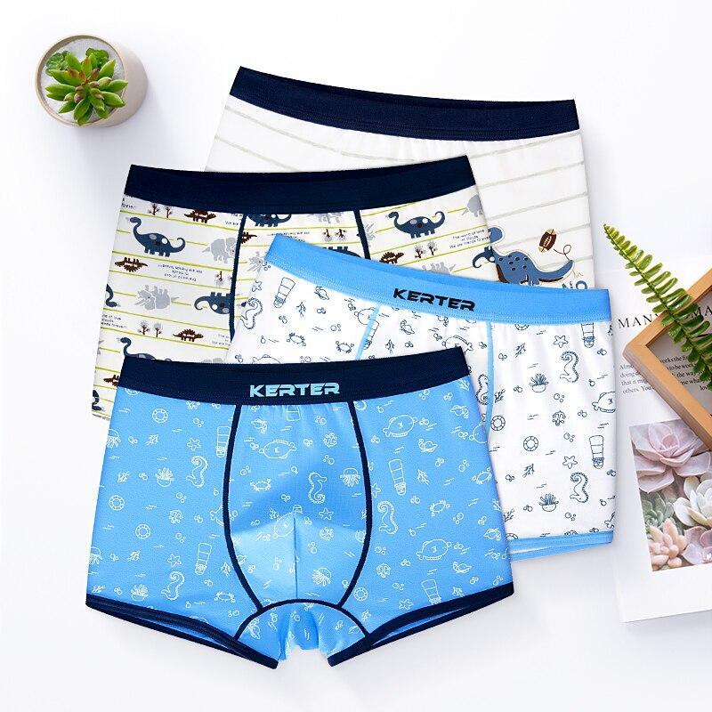 4 Pcs/lot Cartoon Kids Boys Girls Underwear Shorts Panties Soft Cotton Baby Boxer Children's Teenager Underwear 2-16y
