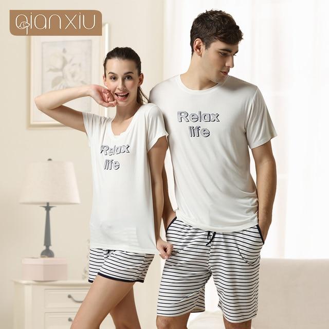 Qianxiu Brand Pajamas Summer Lounge Wear Cotton Trousers Men Modal Pajamas set 1PCS Free shipping