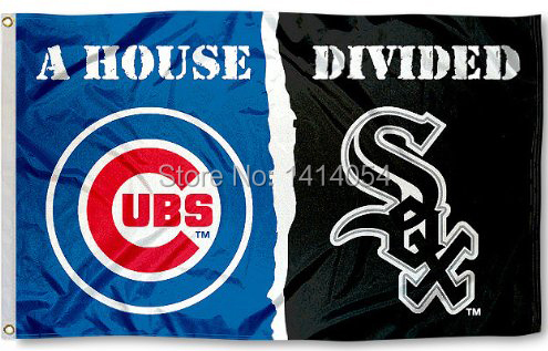 Chicago White Sox and Chicago Cubs House Divided Flag 150X90CM MLB 3x5 FT Banner 100D Polyester flag grommets 09, free shipping