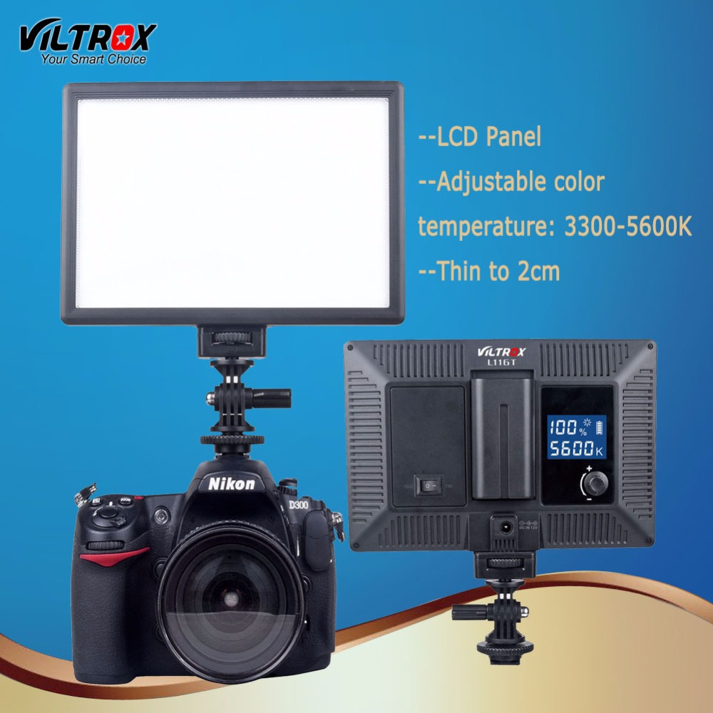 Viltrox L116T LED Ultra thin Video Light Bi-Color & Dimmable Studio Lamp LCD Panel Display for DSRL Camera Tripod Bracket