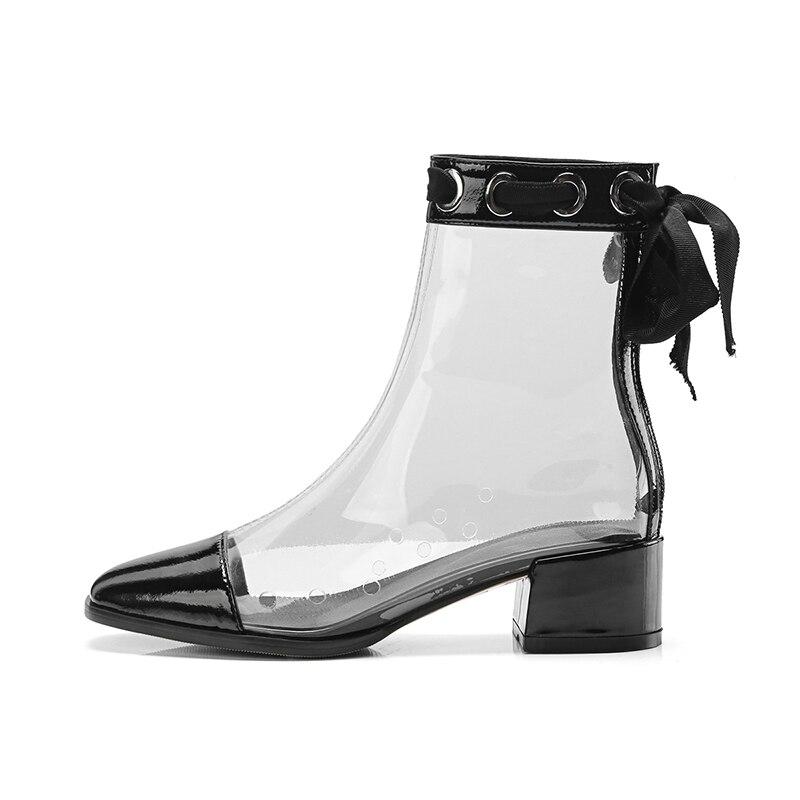Spring Leather collegate Thick Donna Scarpe Patent Donna 2019 Wet Pvc Kiss Heel Stivaletti Nero Donna trasparente Cross zn65qR