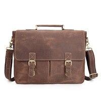 Mens Genuine Leather Briefcase Handbag Laptop Case Bags Document Bags A4 Magazine Ipad Case Messenger Shoulder