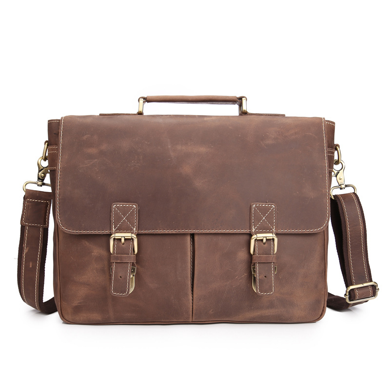Men's Genuine Leather Briefcase Handbag Laptop Document Bags Portfolio iPad Case Messenger Crossbody Shoulder Bag Mushi1042 xiyuan genuine leather handbag men messenger bags male briefcase handbags man laptop bags portfolio shoulder crossbody bag brown