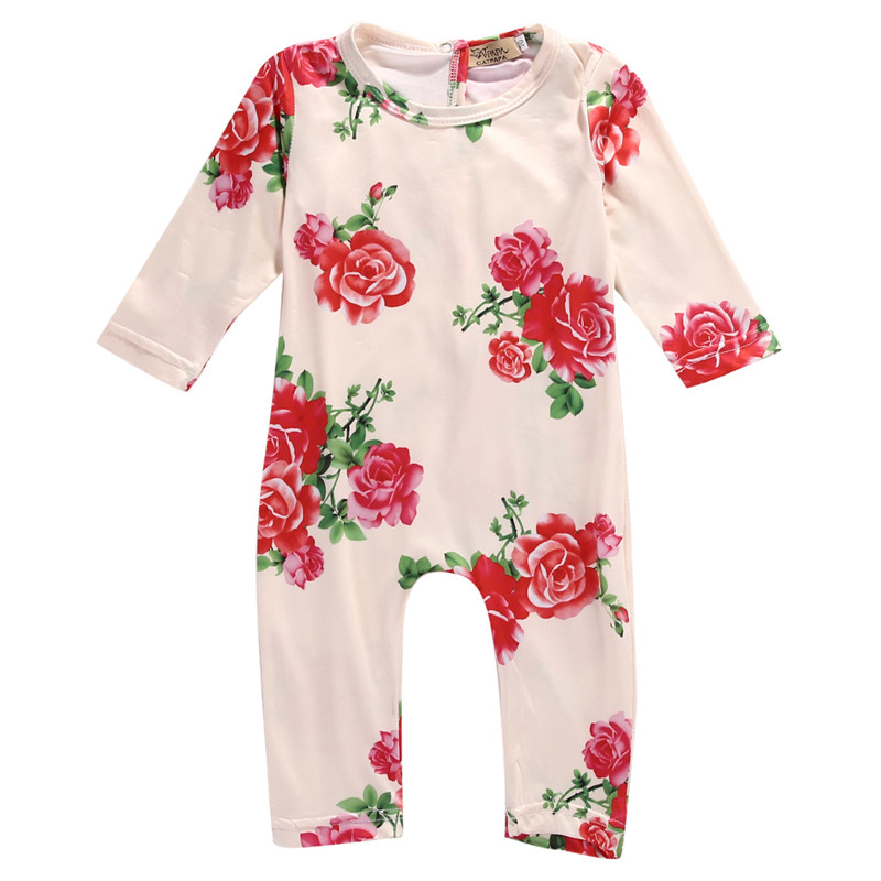 Newborn Kids Baby Girls Clothing Infant   Romper   Jumpsuit Long Sleeve Flower Clothes Outfit