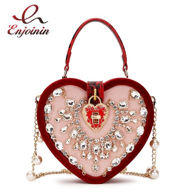Luxurious Vintage Corduroy Heart Box Style Pearl Chain Women s Bag Shoulder  Bag Crossbody Messenger Bag Pouch