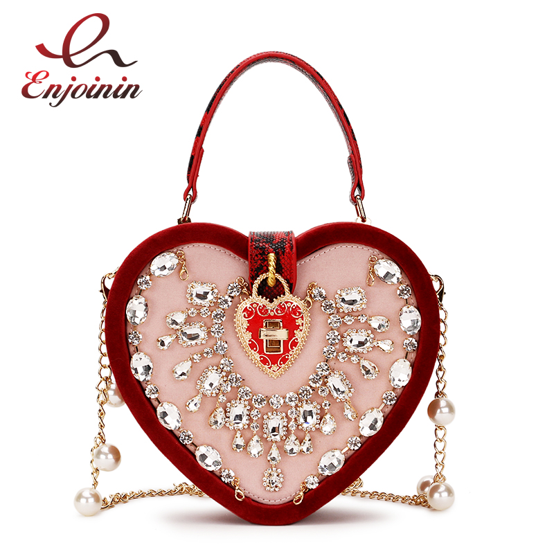 Luxurious Vintage Corduroy Heart Box Style Pearl Chain Women's Bag Shoulder Bag Crossbody Messenger Bag Pouch For Women P