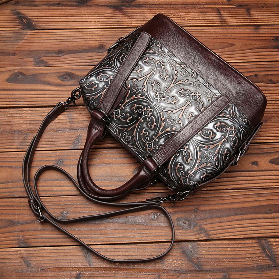 Винтаж тенденция Для женщин из натуральной кожи сумка Повседневное Crossbody Messenger плечо сумки известного бренда из тисненой воловьей кожи сумк...
