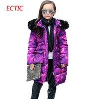 Teenage Girls Winter Jackets Children Warming Long Camouflage Coat Fashion Cotton Detachable Cap Zipper Jacket Outwear