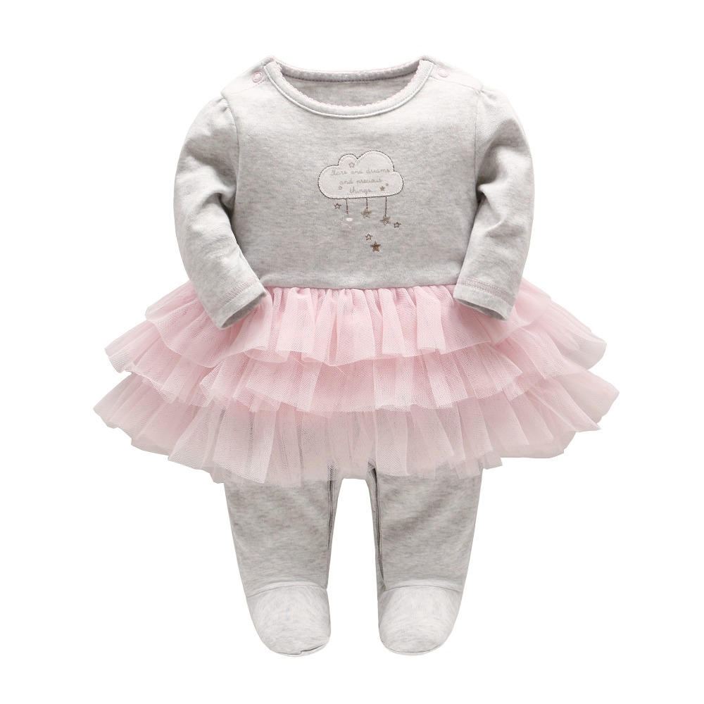 2017 autumn/winter new baby girl bao pengpeng cotton long sleeve jumpsuit   baby rompers L139 warm thicken baby rompers winter long sleeve organic cotton autumn