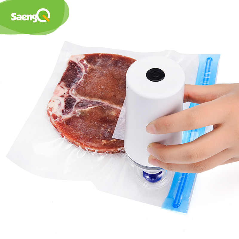 Image 3 - saengQ Handheld Food Vacuum Sealer Packaging Machine Film Container USB Sealer Vacuum Packer With 6 or 10pcs Vacuum Zipper BagsVacuum Food Sealers   -