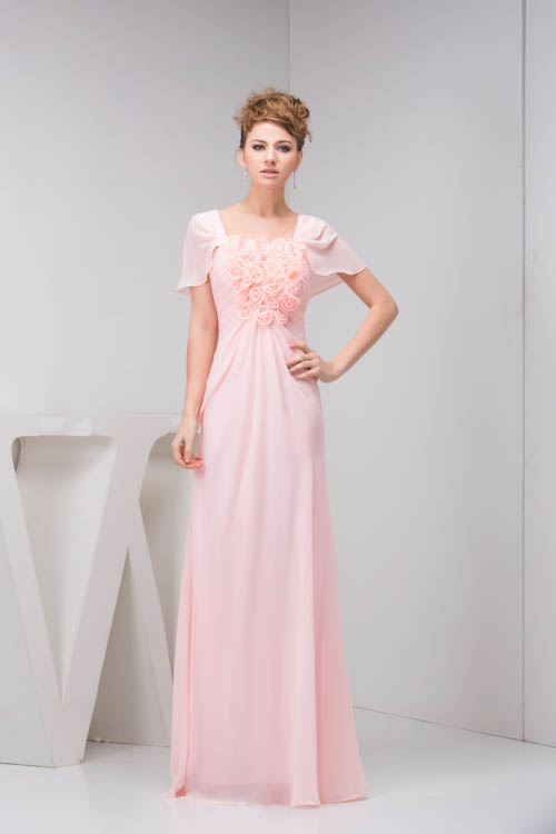 New Arrival Backless Long Pink   Bridesmaid     Dresses   with Flower Boat Neck Cap Sleeve Chiffon Wedding Party   Dresses