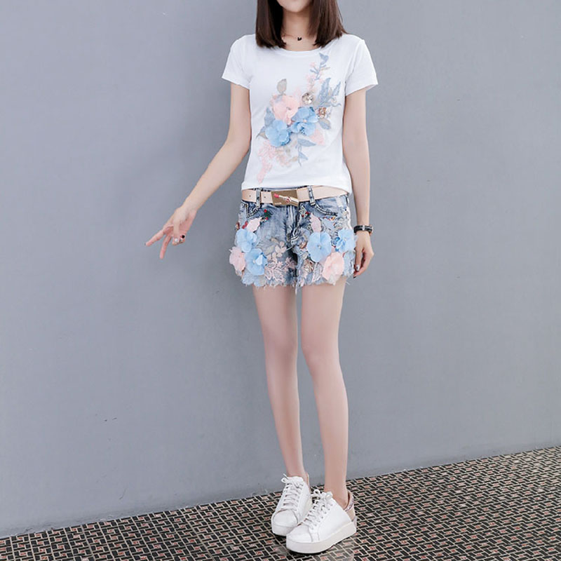 KL1040 Cute girls short vintage washed denim shorts summer loose fashion sequined women jeans shorts