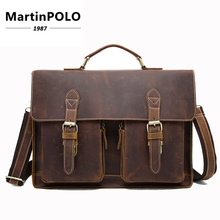 2019 Crazy Horse Leather Briefcases for Document Totes Messenger Bag Men Shoulder Bags Business Men Briefcase Laptop Bag MLT9033