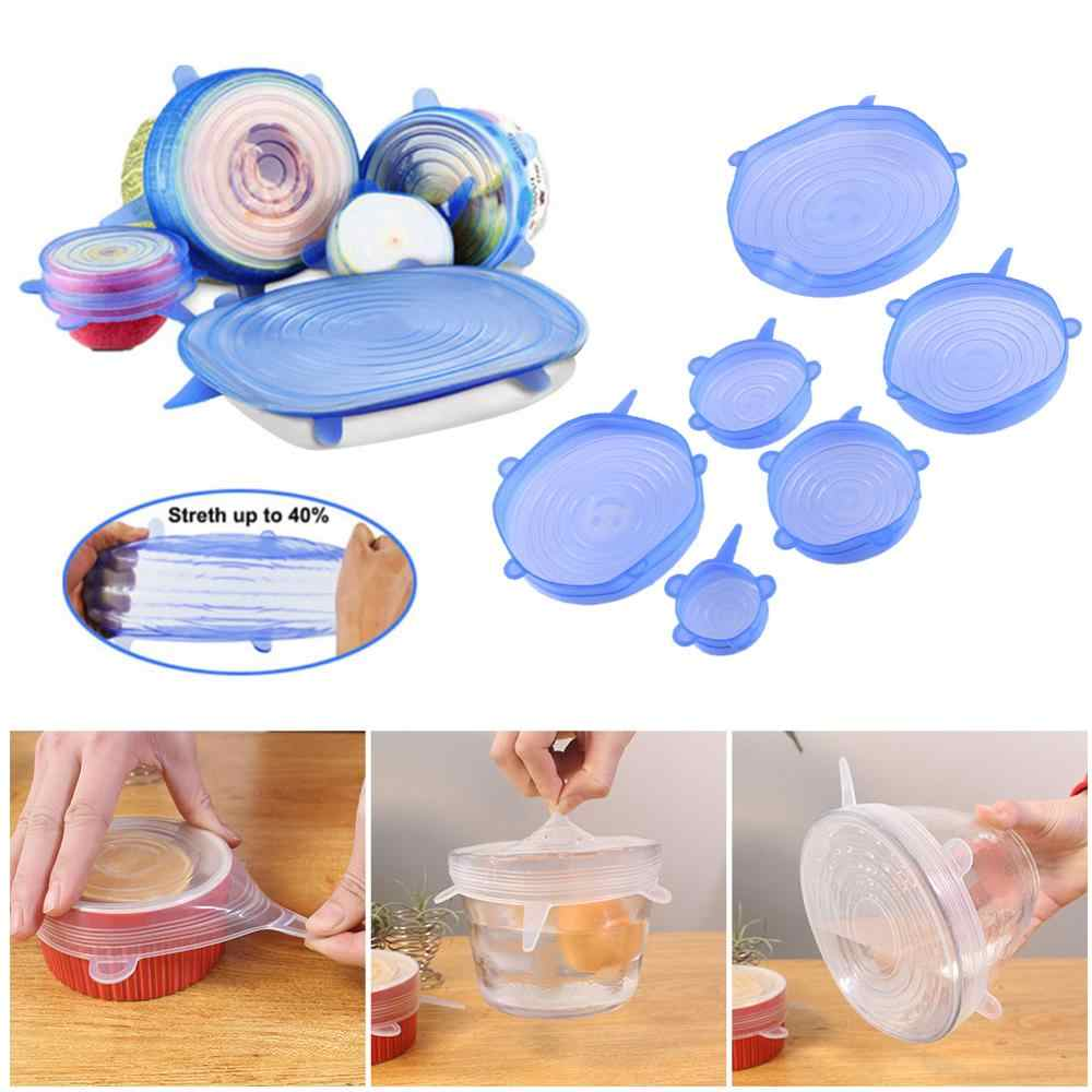 4/6PCS Silicone Stretch Lids Universal Silicone Lid Food Wrap Bowl Pot Lid Silicone Cover Pan Cooking Kitchen Gadget Tools