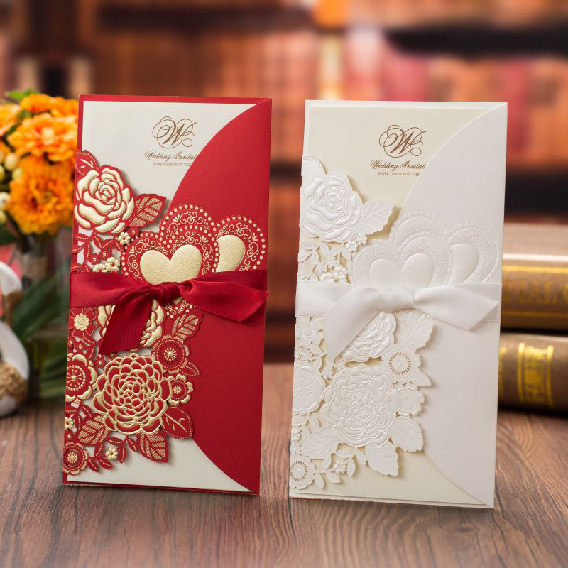 50pcs White Red Laser Cut Rose Heart Wedding Invitations Card Greeting Cards Customize Wedding Decoration Event Party Supplies