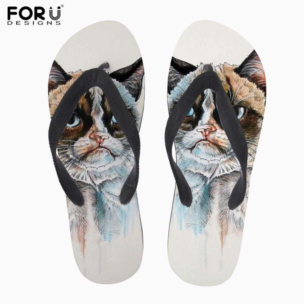 56eaf5682 FORUDESIGNS Women Beach Flip Flops Flipflops Sandals Shoes Bath Slippers  Sandals Funny Cat Dog Women Slippers
