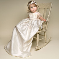 Cute Infant Lace Long Custom Made Baby Girls Newborn Baptism Rope Christening Dress blessing Gown With Bonnet