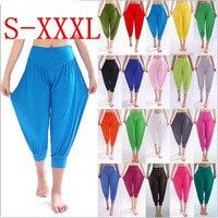 Nowy 100% Bawełna Plus Rozmiar damska Stretch Wygodne Spodnie Spodnie Capris Kobiet Lato Krótkie Spodnie Harem W00285 Treningu