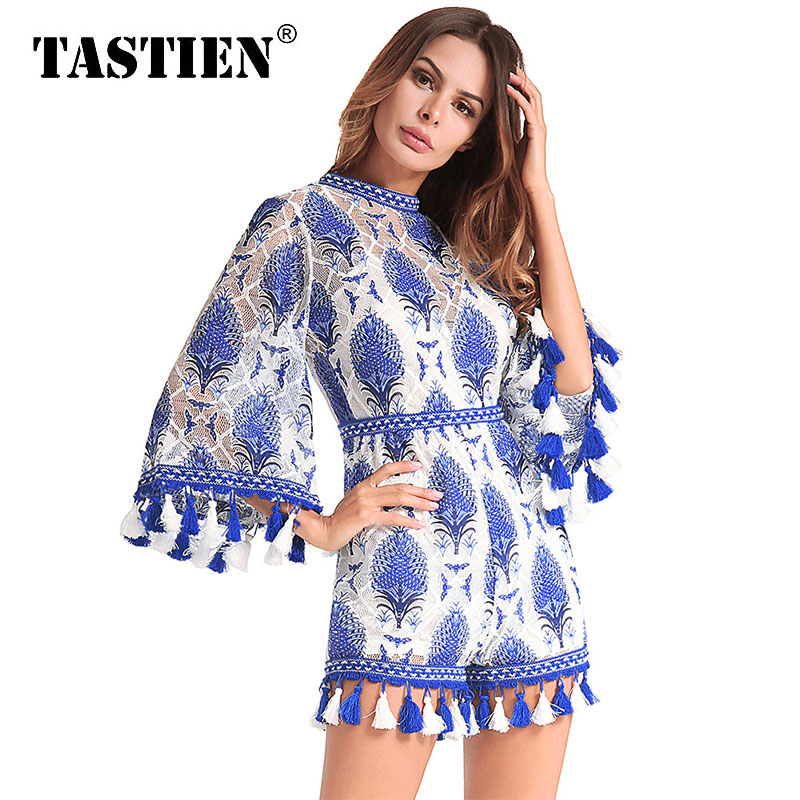 TASTIEN 2018 New Summer Autumn Women Jumpsuits Sexy Vintage Rompers Mandarin Sleeve Lace Mesh Beach Jumpsuits Rompers Plus Size