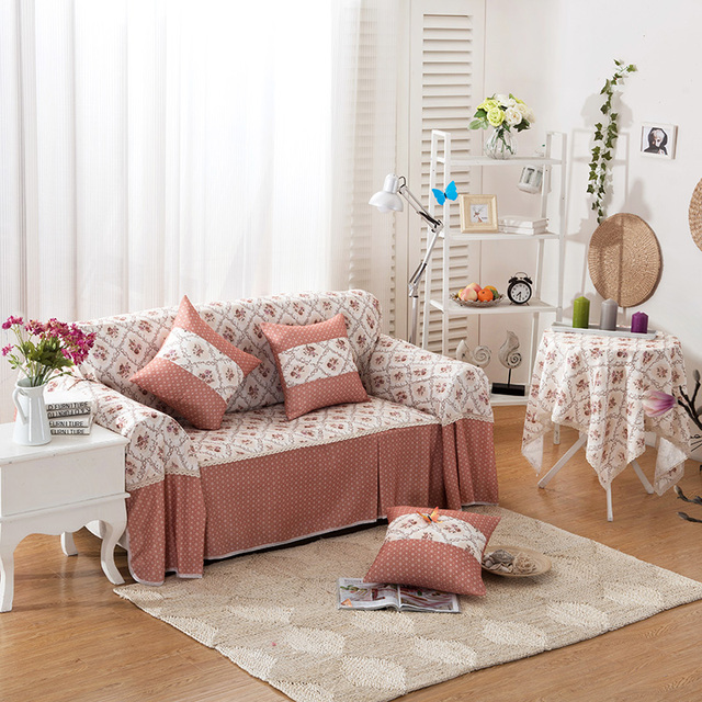 SunnyRain Polyester Floral I Shaped Sofa Cover Sectional Sofa Covers  Slipcover Couch Cover Chaise Longue Table