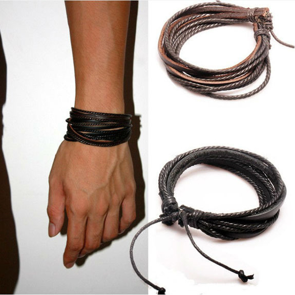 2pcs Mens Bracelet Woven Leather Hand Made Rope Bracelets Bangles With Braided For Women Men Pk043 In Charm From Jewelry