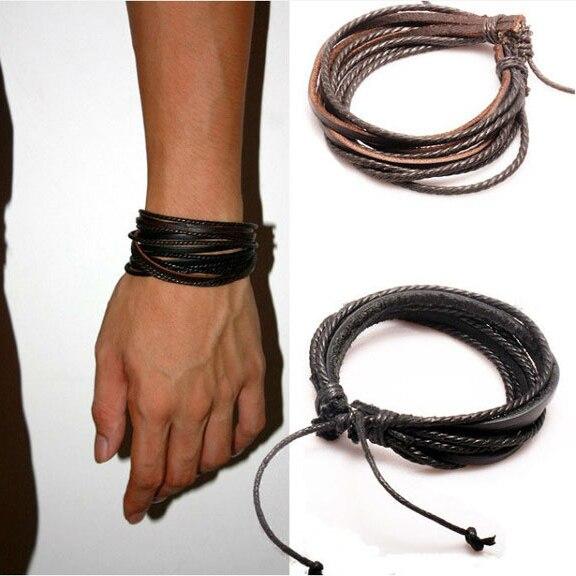 2Pcs Mens Bracelet Woven Leather Bracelet Hand Made Leather Rope Bracelets & Bangles With Braided Rope For Women/Men PK043