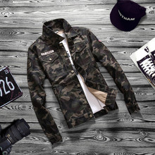 Camouflage 2019 Autumn  Jacket Men Denim Regular Turn-down Cotton Casu