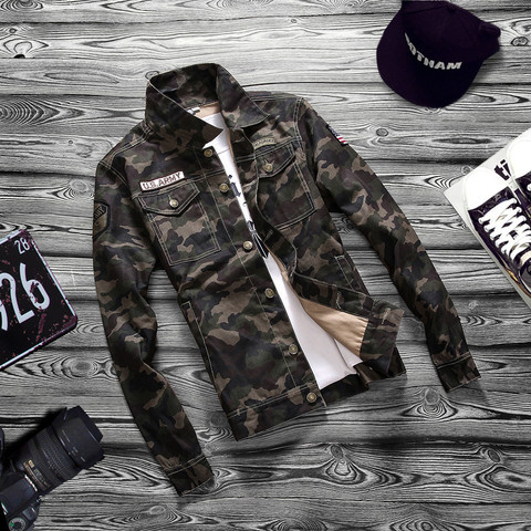 Camouflage 2019 Autumn  Jacket Men Denim Regular Turn-down Cotton Casual Solid Loose Pockets Street Wear Jackets Coats Pakistan