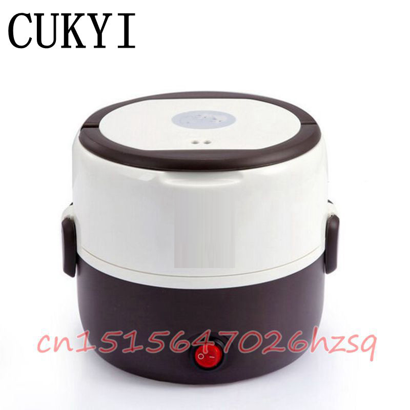 CUKYI 1.3L Double layer electric heating lunch box Multifunctional Mini Nonstick Alloy Multilayer liner Electric Rice Cooker cukyi double layer multi function electric egg cooker boiler stainless steel automatic power off mini