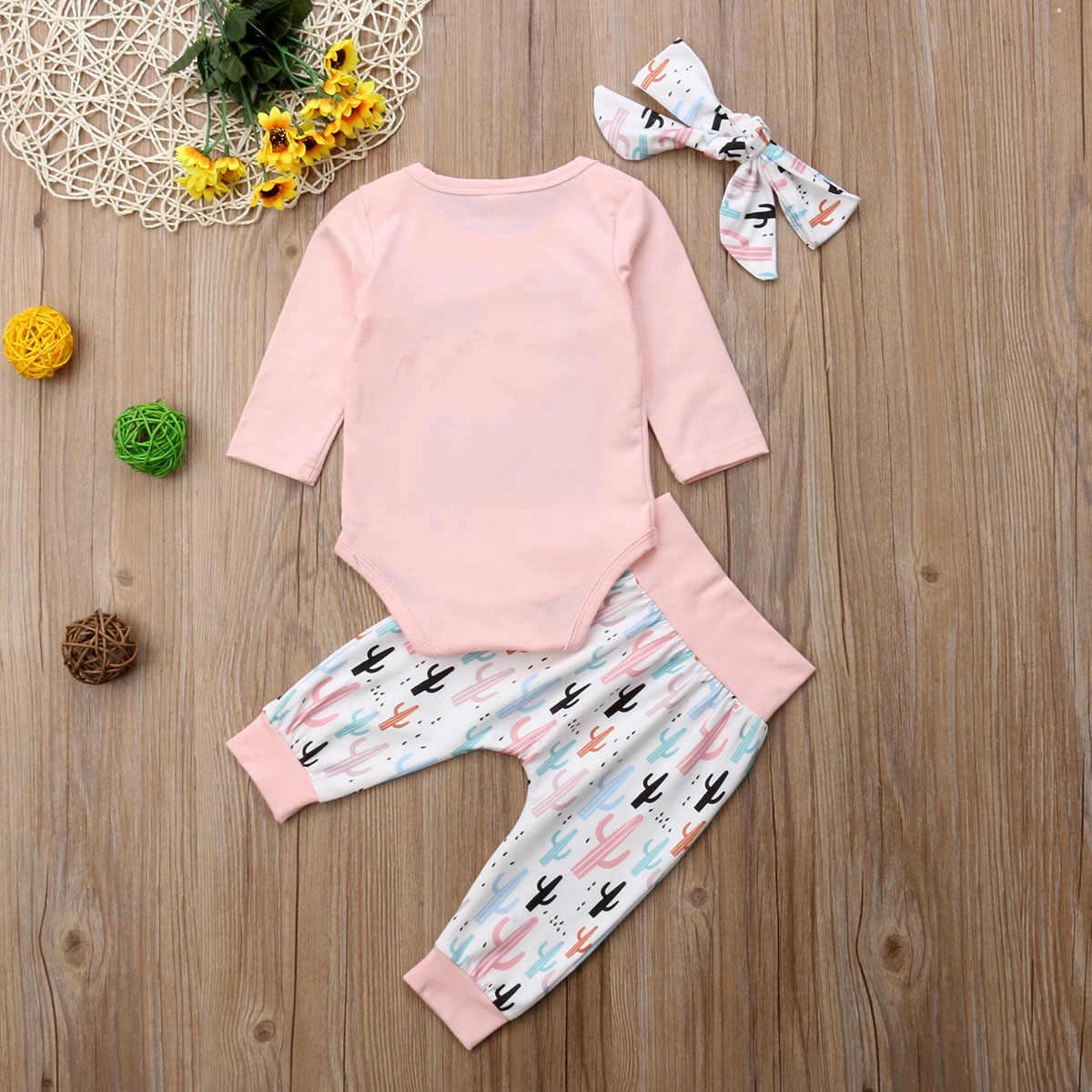 3 stks Baby Meisje Outfits Alpaca Tops Lange Mouw Romper Cactus Broek Hoofdband Set Peuter Herfst Kleding Trainingspak