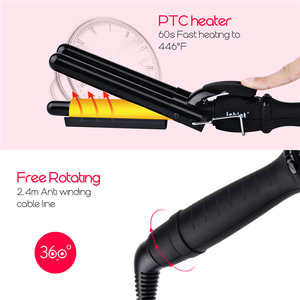 Image 4 - Guante de rizador rápido de pelo ondulado, rizador de pelo profundo de cerámica con tres barriles de permanente Digital LCD de 19mm, 22mm y 25mm